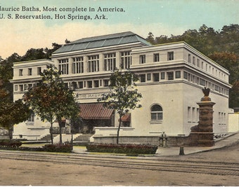 Vintage Postcard...Arkansas, Hot Springs- The Maurice Baths, Most Complete in America, U.S. Reservation...Unused...no. AR0004