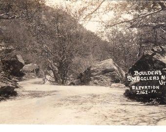 Vintage Photo Postcard...Vermont, Smuggler's Notch, Boulders, Elevation 2162 Ft...Unused...no. VT0009