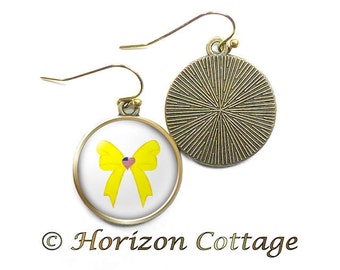 Yellow Ribbon Earrings, Deployed Military Jewelry, Love My Deployed Military, Support Our Troops, Antique Brass or Silver Tone Earrings
