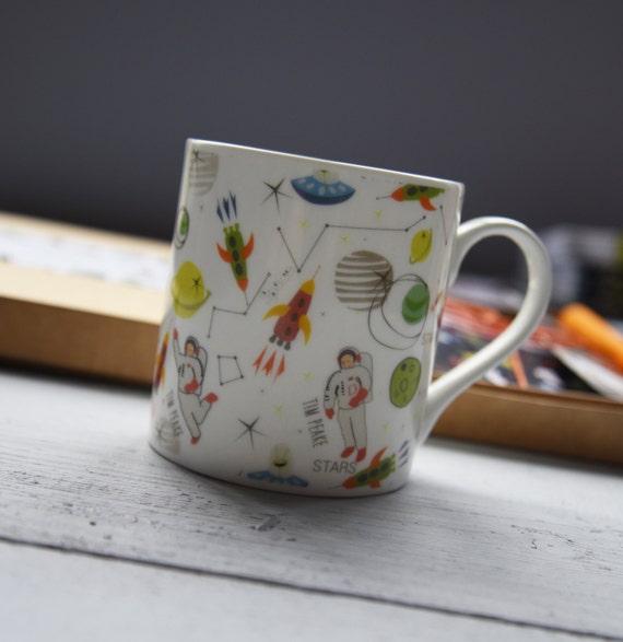 Astronaut Tim Peake inspired - mug - fine bone china - gift for him - tea cup - fun space design - space travel