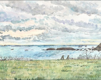Cloudy seascape, fine art print, wall art decor scenic beach art, Little Compton Rhode Island, Blue Green Grey 8.5x11 Wall Decor Gift Idea