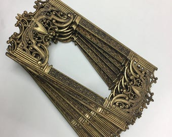 Vintage six-sided gothic,filagree,ornate,swag lamp panels,brass finish,decorative hanging