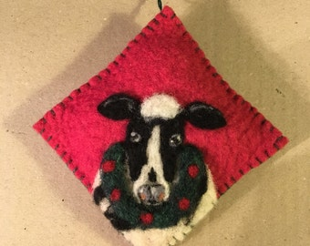 Handsome Needle Felted Cow With Wreath On Red Felted Wool Christmas Ornament