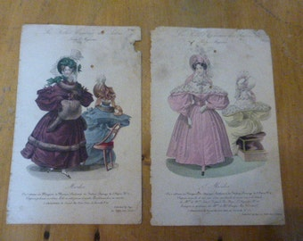 Antique french ladies Fashion Print Pair 1830s Original Print Early Victorian and Colonial Era Clothing LFP1