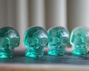 Set of 4 Green Resin Skulls. Jewelry Making, Goth, Steam Punk.