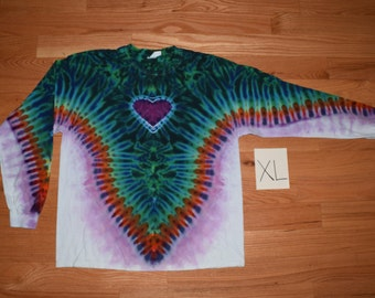 Tie Dye T-Shirt ~ Fire V with Aqua Scrunch, Purple Heart, and White Background~ C_0136 Long Sleeve Adult extra Large