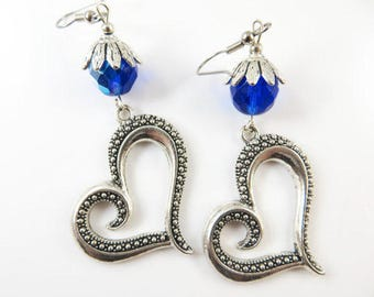 Large fancy heart earrings