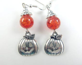 Orange pumpkin earrings