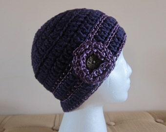Purple Womans Beanie, Purple Metallic Trim Hat, Beanie with Flower, Purple Beanies, Womens Purple Hat, Purple Winter Hats, Beanie in Purple