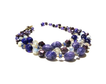 Purple Beaded Three Strand Necklace Germany Gold Lavender Mauve Accents Lucite Beads February Birthday Gift
