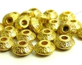 25 Antique Gold Tone Metal Beads - 4x7mm - Flat Round, Spacers, Lead and Nickel Free - BH6