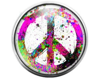 Peace Sign - 18MM Glass Dome Candy Snap Charm GD0269