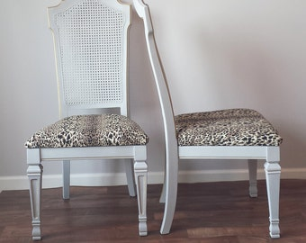 Set/2 Vintage French Caned Dining Chairs Leopard Print Fabric Paris Grey Gold Gilding Applique Details French Farmhouse Cottage Shabby Chic