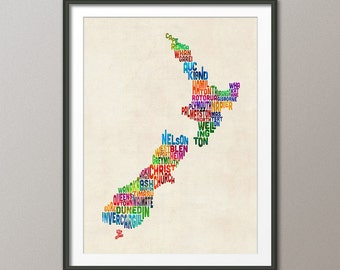New Zealand Typography Text Map, Art Print (1478)