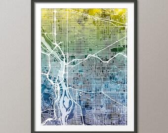 Portland Map, Portland Oregon City Map, Art Print (2740)