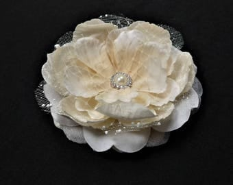 Ivory / cream fabric flower hair clip or corsage clip