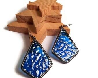 Retro Blue Earrings Blue Glass Earrings Stained Glass Earrings Glass  Metal Earrings Handmade Earrings Earring Jewelry Long Dangly Earrings