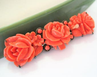 Coral Celluloid Brooch - Vintage Roses -  Coral Bar Pin - C Clasp - 30's Brooch