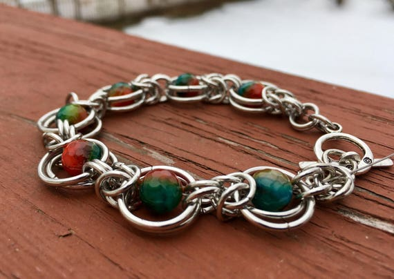 Multicolored Faceted Agate Chainmaille Bracelet