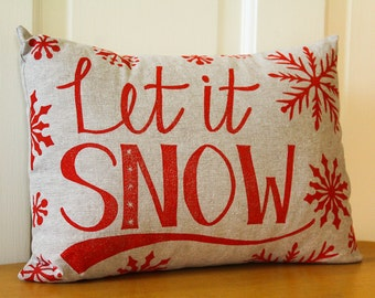 Ready to Ship--Hand Printed Pillow Cover with Insert, Let it Snow, 12x16, Home Decor, Red