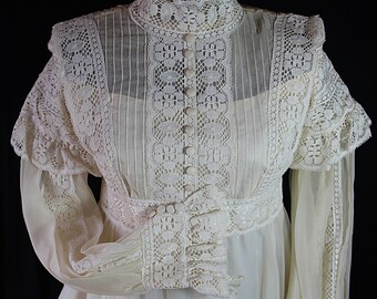 60s Wedding Dress Edwardian Victorian Off White Lace Sheer Cotton Gauze