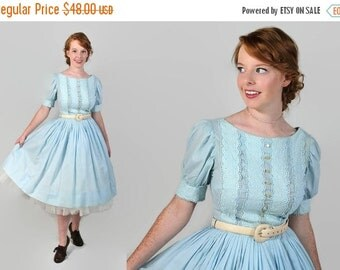 40%OFFSALE 50s 60s Day Dress, Rockabilly, Shirtwaist, Fit and Flare, Circle Skirt, Blue Cotton