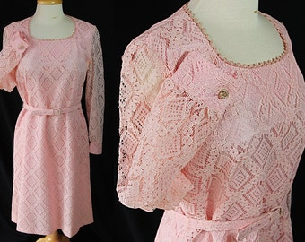 60s Lace Dress, Tunic Vest, Rhinestone Buttons, Pink Vintage Wedding