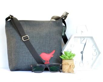 Handmade womens handbag. black charcoal with red bird applique