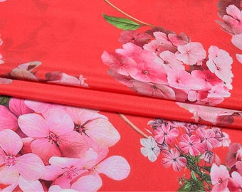 """Crepe de Chine silk fabric, red floral digital printing,  45"""" 12m/m, beautiful silk Fabric for summer Dresses, shirts, blouse, by the yard"""