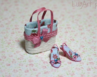 Set of handbag with sandals in pink and blue for dollhouse scale. 1:12 scale.