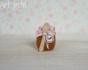 Honey jar with wood spoon for dollhouse