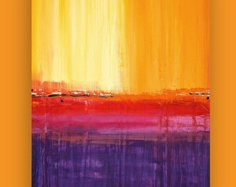 Art, Large Painting, Original Abstract, Acrylic Paintings on Canvas by Ora Birenbaum Titled: On the Horizon 5 28x38""