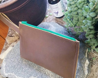Full Leather Zipper Pouch