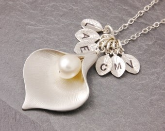Family Necklace, grandma necklace, nana necklace, calla lily necklace, flower necklace, mom necklace, mother necklace, grandmother, N6