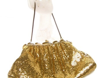 WHITING DAVIS Opulent Gilt Metal Evening Bag c 1960