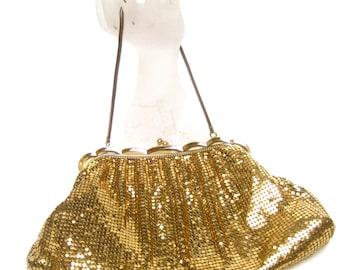 WHITING DAVIS Opulent Gilt Metal Evening Bag c 1960