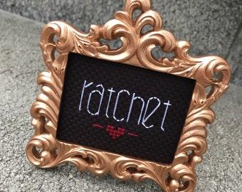 Mini Rose Gold Baroque Framed Cross Stitch - Ratchet
