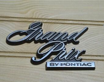 Vintage Grand Prix By Pontiac Metal Car Badge Emblem Sign Nameplate Ornament Decal Script Logo Stick On Collectible Decor Advertisement