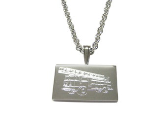 Silver Toned Etched Fire Truck With Ladder Pendant Necklace