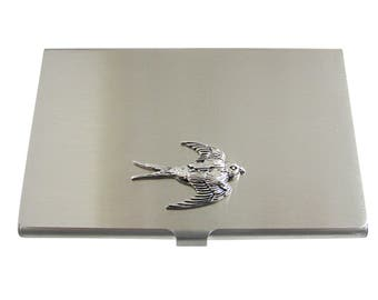 Silver Toned Sparrow Bird Business Card holder