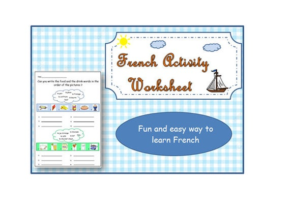 Back to School Food & Drinks FRENCH PRINTABLE WORKSHEET with