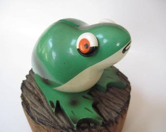 Vintage Robdal Green Painted Wood Frog Bank Made in France