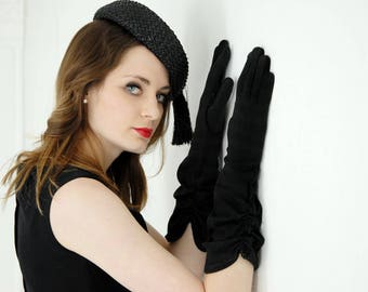Vintage long black gloves, ruching, 1950s formal cotton, M L