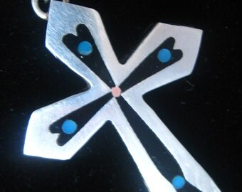 """Inlaid Sterling Eagle 2 Mexican Cross Necklace with Fine 18.5"""" 1 mm Curb Chain Marked Bar Silver.  Black Onyx & Turquoise.  Tiny Copper Dot."""