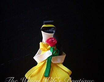 Belle themed hair bow, beauty and the beast, sculpted bow, hair bow