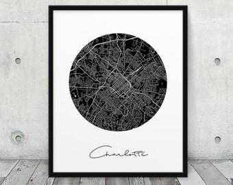 Charlotte City Street Map Poster. Charlotte Urban Map Print. Black White Charlotte North Carolina Print. Map Travel Decor. Printable Art