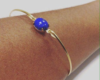 Lapis Blue  vintage glass gold bangle bracelet