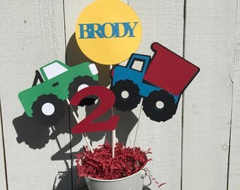 Dump Truck Centerpiece/ Cake Topper/ Name/ Age/ Truck Party Decor/ Customized in any color combination/ Red/ Yellow/ Blue/ Table Decor