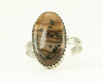 Biggs Jasper Sterling Ring - Oval Picture Jasper Ring - Ready to Ship Size 8 - Sample Sale