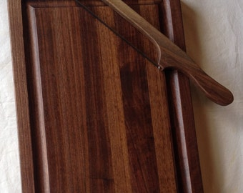 Walnut Carving Board,  Wood Carving Board, Juice Groove, Edge Grain Cutting Board, Wooden Carving Board, Cutting Board Wood